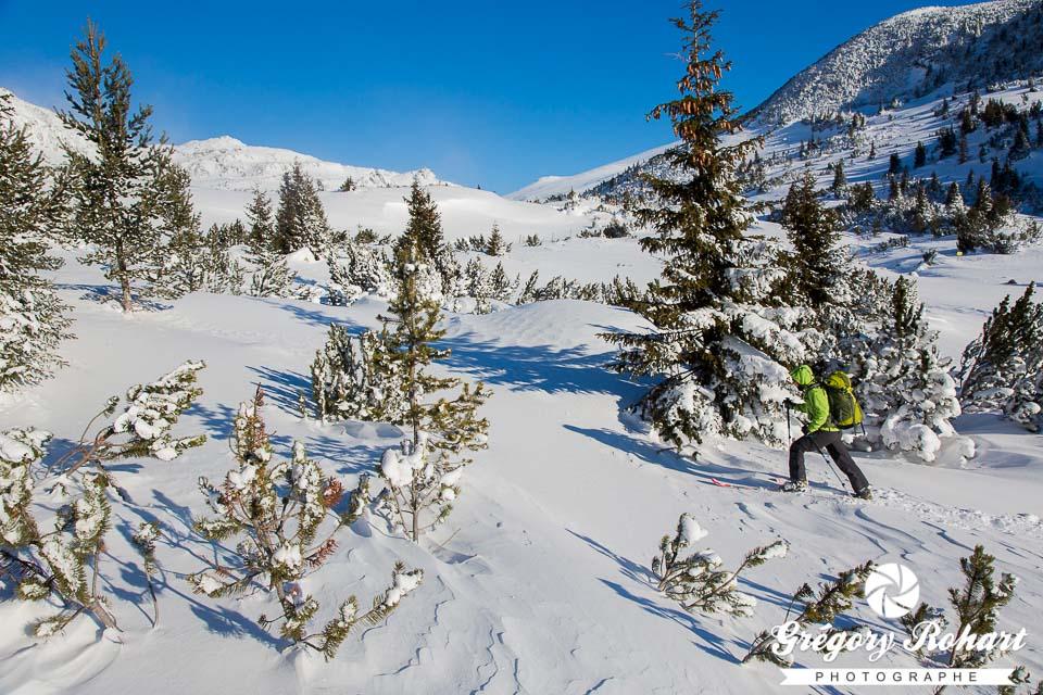 Nouvelle tentative pour notre journée à ski de randonnée dans le massif du Rila. Il fait -30°C.